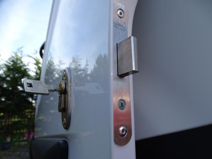 Deadlock fitted to a Ford Custom side door